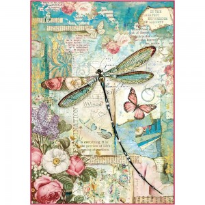 Stamperia - A4 Rice Paper - Wonderland Dragonfly