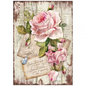 Stamperia - A4 Rice Paper - Sweet Time Rose
