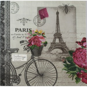 "Deco Napkin  13""x13"" - Vintage Paris Tower Roses - 1Pc"