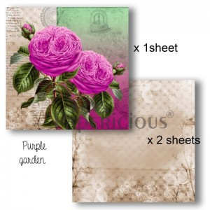 Papericious - Decoupage Papers - Purple Garden - 8x8 inch