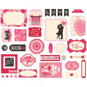 Echo Park - Blowing Kisses Collection - Ephemera - Cardstock Die-cuts