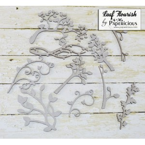 Papericious - Chipboard - Leaf Flourish Collage