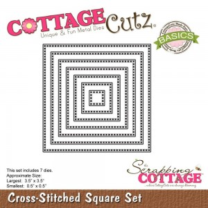 CottageCutz Basic Die - Cross-Stitched Square Set