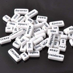 Acrylic Charm - Word Tiles - Mixed - White - 50Pcs