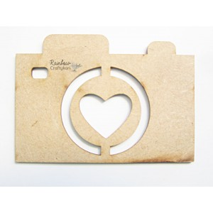 MDF Cutout - Retro Camera - 5cmx7cm - 1pc