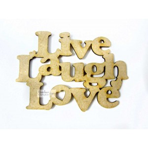 "MDF Cutout - Love Live Laugh - 3""x2"" - 1Pc"