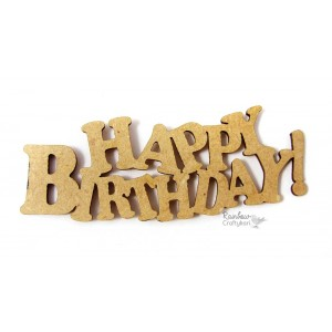 MDF Cutout - Happy Birthday Rounded Edge - 1.15in x 2.75in - 1Pc