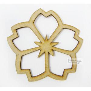"MDF Cutout - Five Petal Flower - 3""x2.75"" - 2Pcs"