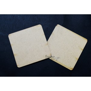 MDF Coasters - Square Curved Edge - 3.80in - 6 Pcs