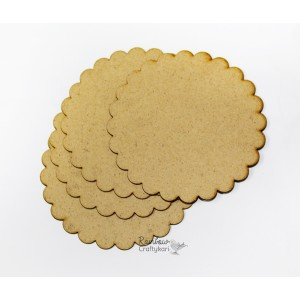 MDF Coasters - Scallop Round - 3.85in - 6 Pcs