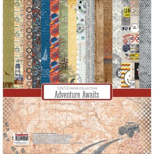 "ScrapBerry's - Adventure Awaits - Paper Pack 12""X12"" - 16/Pkg"