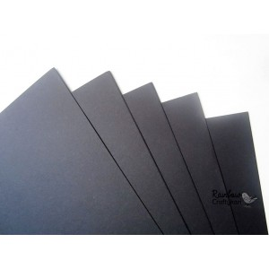 Thick Cardstock - Black - 430gsm - Lightly Textured - 12x12 in - 5 Sheets
