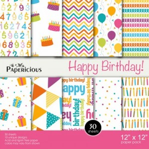 Papericious 12x12 Paper Pack - Happy Birthday