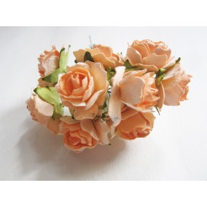 Mulberry Flowers - Light Tangerine Rose Flower - 2.5cm - 10pcs