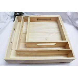 Pinewood - 3 Piece Pinewood Square Trays Set